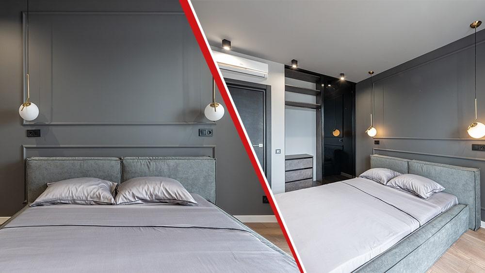 camera da letto ristrutturata in bilocale