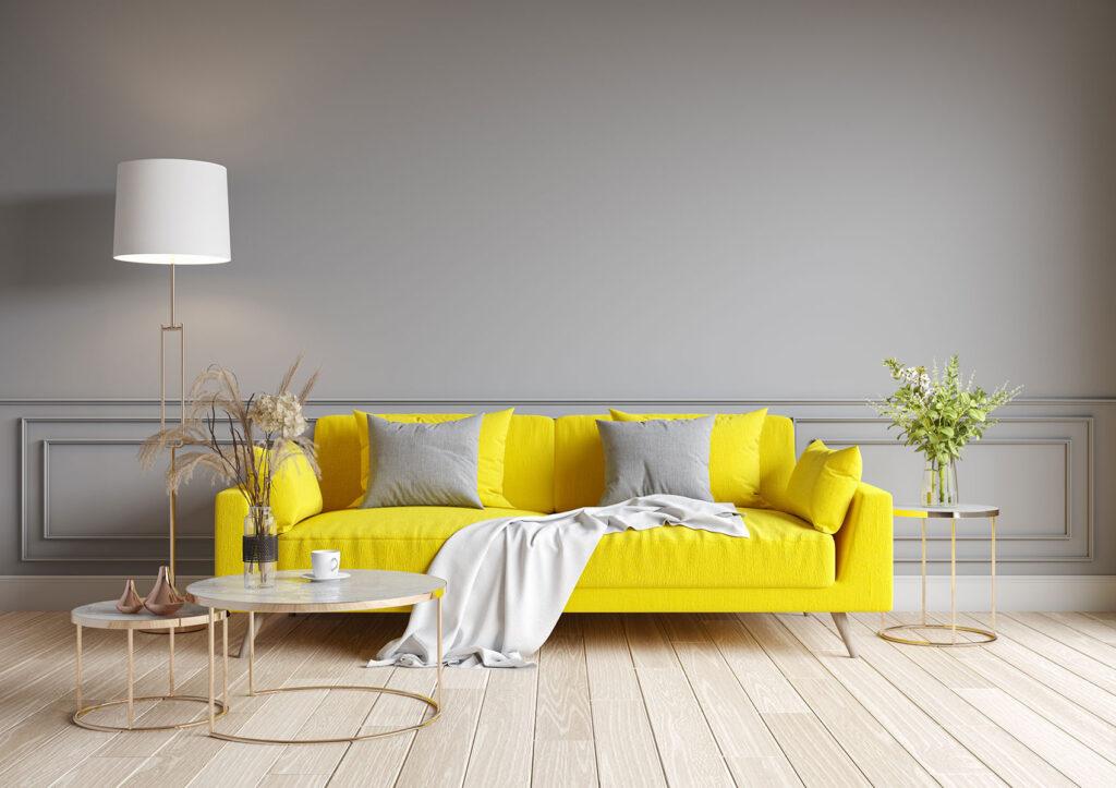 abbinamento giallo e grigio