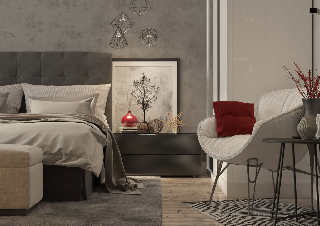 abbinamento rosso e grigio